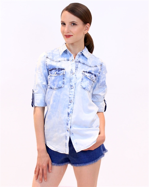 Acid Wash Denim Chambray Shirt - orangeshine.com