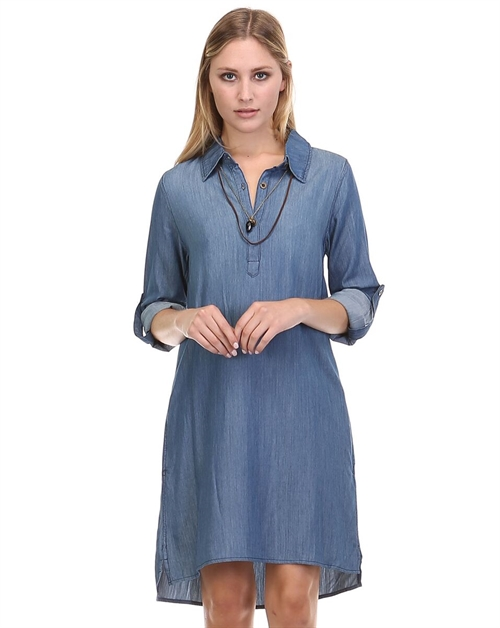 DENIM DRESS WITH POCKETS - orangeshine.com