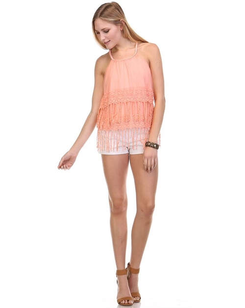 LACE TASSEL CROP TOP - orangeshine.com