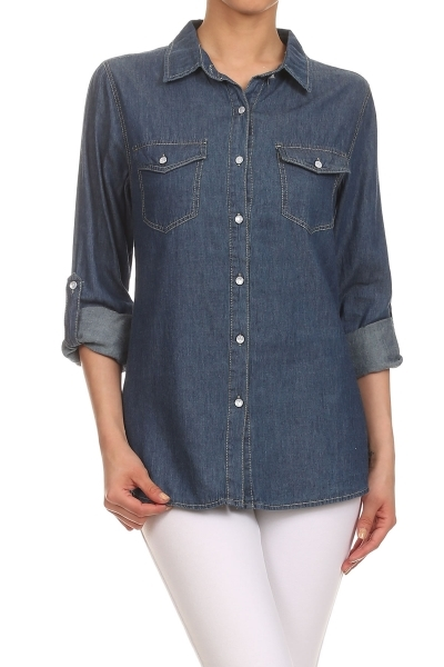 Button Down Denim Shirt - orangeshine.com