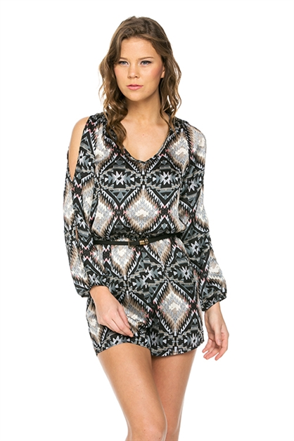 Tribal Print Cutout Sleeve Rom - orangeshine.com