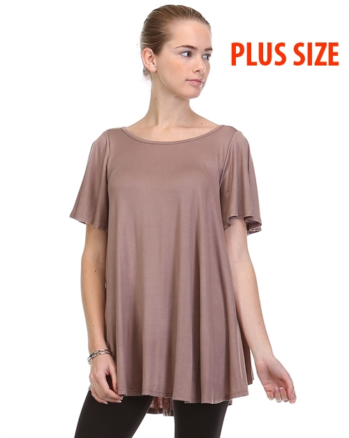 Plus size Ruffle Sleeve top - orangeshine.com
