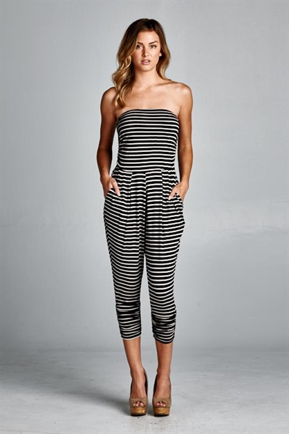 STRIPED STRAPLESS JUMPSUIT - orangeshine.com