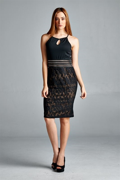 LACE MIDI RACERBACK DRESS - orangeshine.com