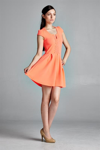 SKATER DRESS WITH LACE TRIM - orangeshine.com