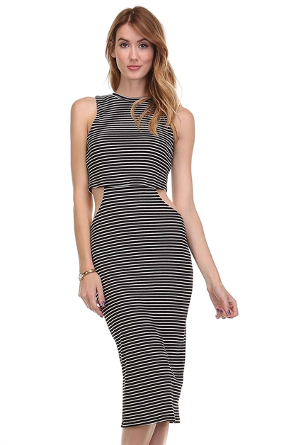 Striped Rib Cut-out Dress - orangeshine.com