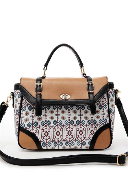 Aztec Print Flap Over Satchel - orangeshine.com