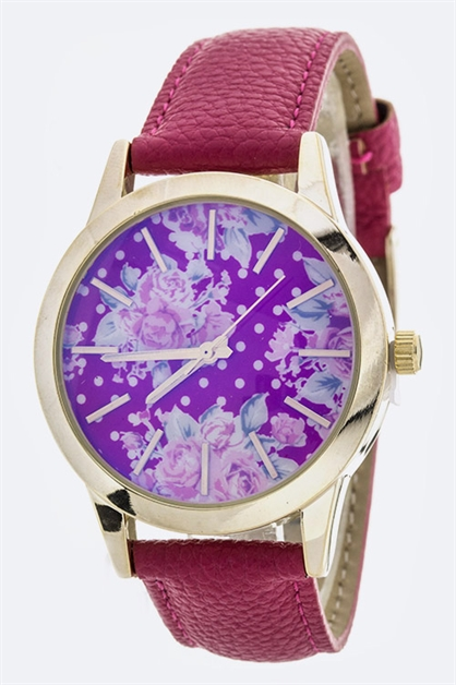Rose Print Crystal Watch - orangeshine.com