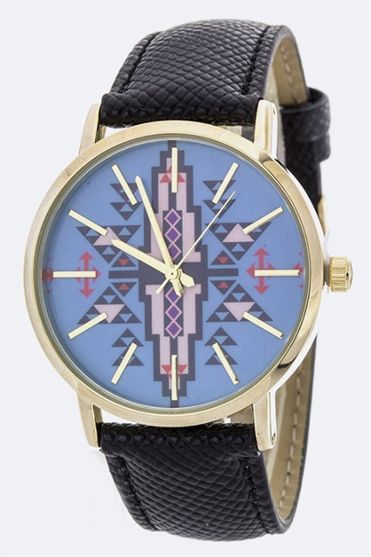Tribal Print Crystal Watch - orangeshine.com