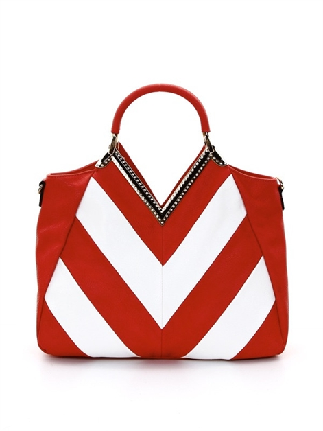 Chevron design satchel - orangeshine.com