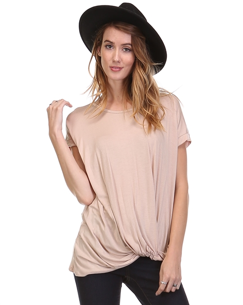 Solid Draped Detail Top - orangeshine.com