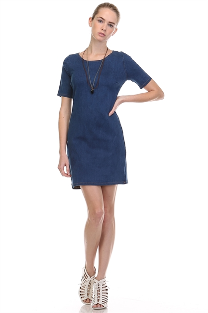 SLIM FIT DENIM DRESS - orangeshine.com