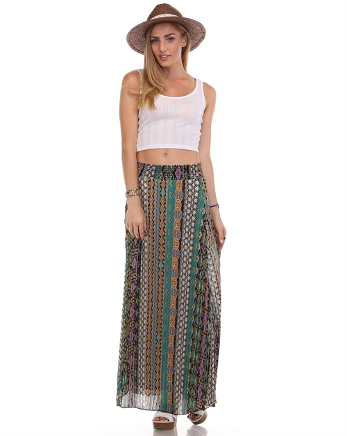 print pleated skirt /chainbelt - orangeshine.com