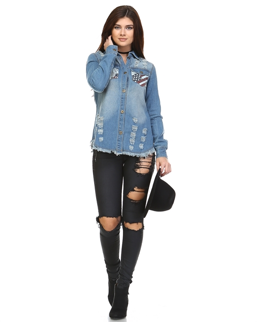 DENIM CUTOUT JACKET - orangeshine.com