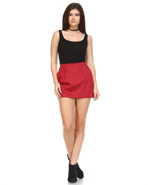 SOLID SKORT WITH ZIPPER - orangeshine.com