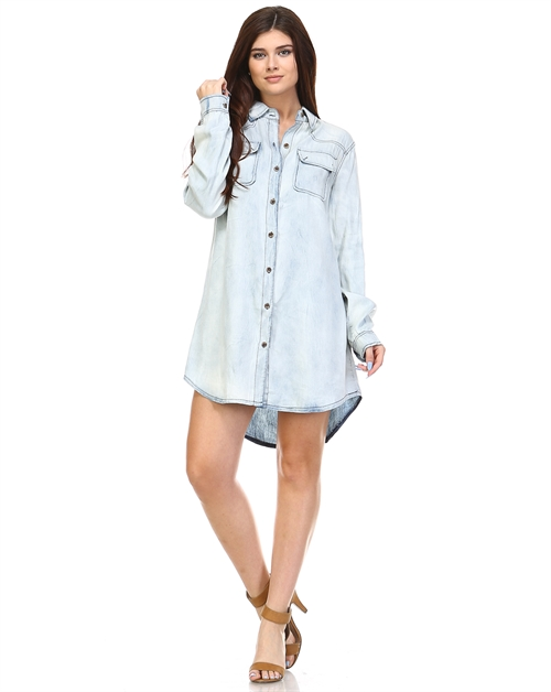 WASHED DENIM DRESS - orangeshine.com