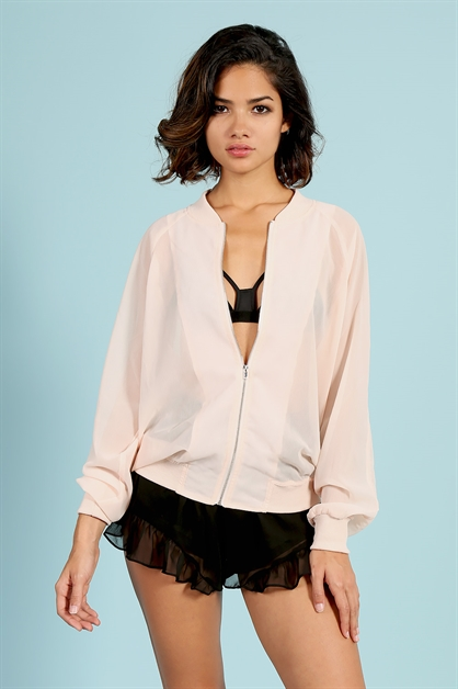 Sheer Bomber Jacket - orangeshine.com