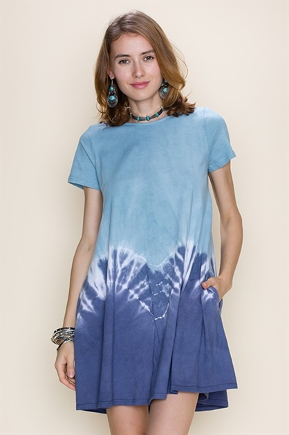 TIE DYE POCKET TRAPEZE DRESS - orangeshine.com