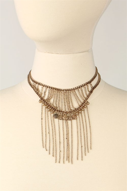 CHAIN FRINGED CHOKER - orangeshine.com