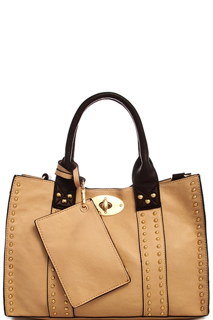 Fashion Studded Tote Bag - orangeshine.com