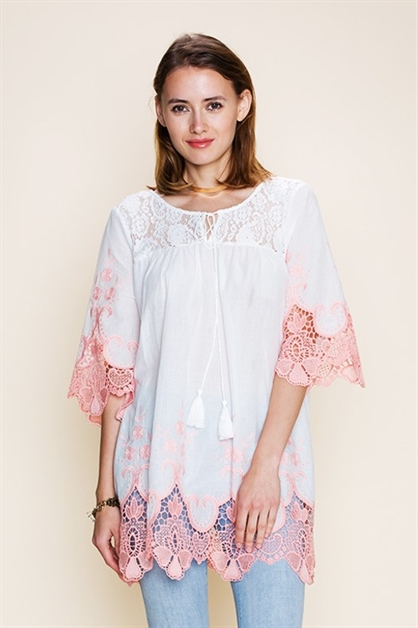 SOLID EMBROIDERED DETAIL TUNIC - orangeshine.com