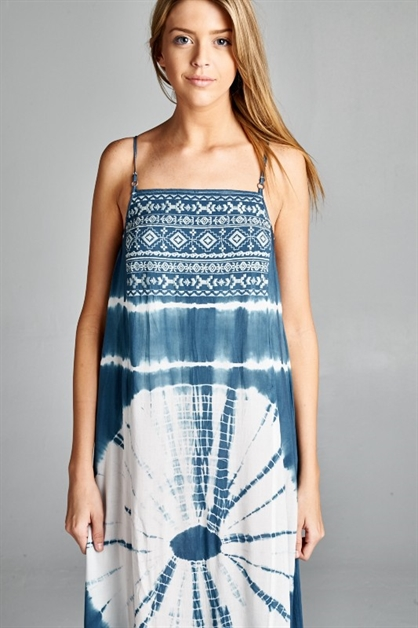 TIE DYE EMBROIDERY MAXI DRESS - orangeshine.com