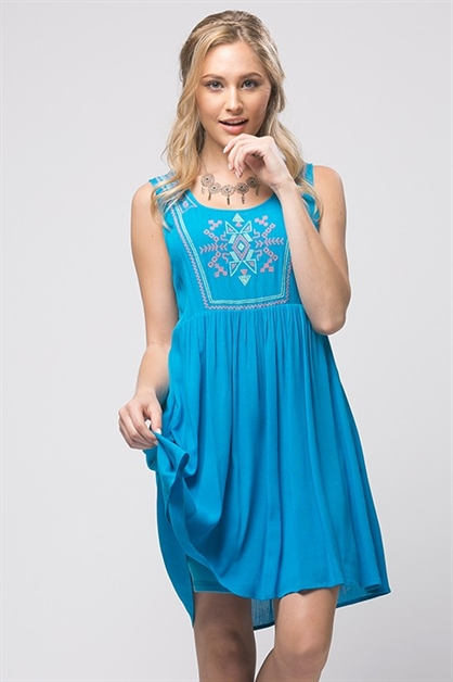 EMBROIDERY BABYDOLL DRESS - orangeshine.com