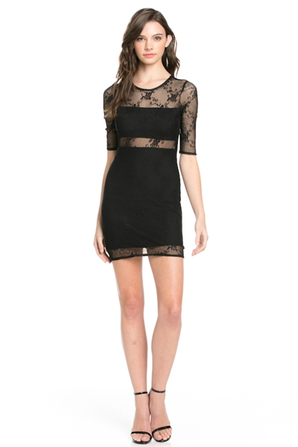 3/4 SLEEVE LACE COVERED DRESS - orangeshine.com