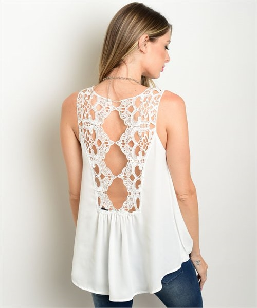 CROCHET BACK SLEEVELESS TOP - orangeshine.com