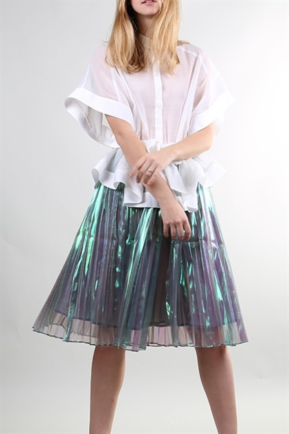 GREEN METALLIC SKIRT - orangeshine.com