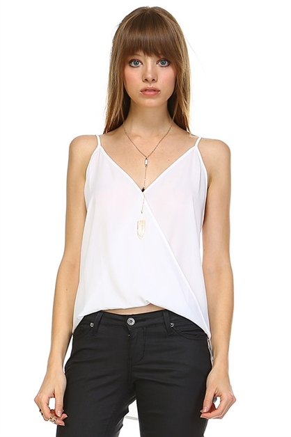 WHITE V-NECK TANK TOP - orangeshine.com