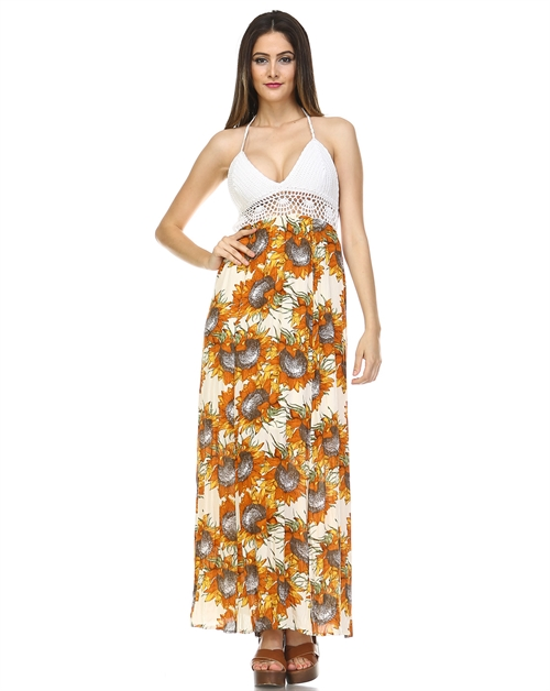-Bohemian Floral Maxi Dress  - orangeshine.com