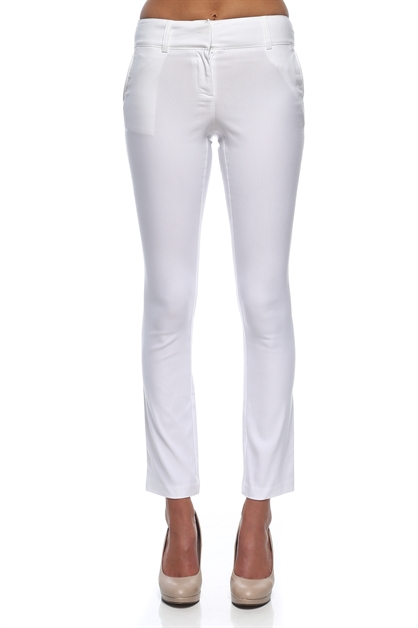 Solid Slim Skinny Trousers - orangeshine.com