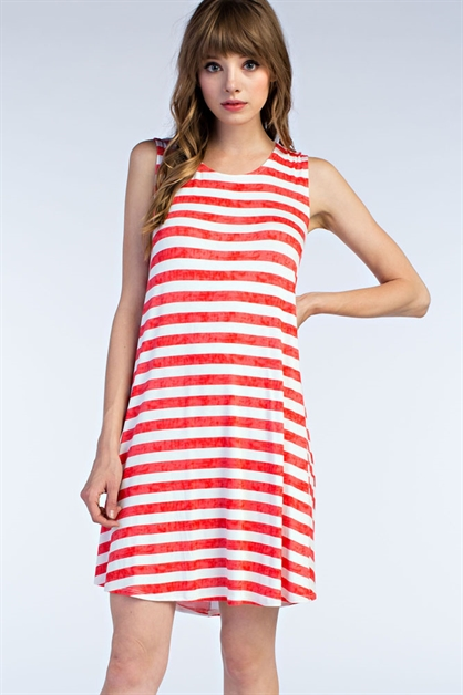 Tie Dye Striped Tank Dress - orangeshine.com