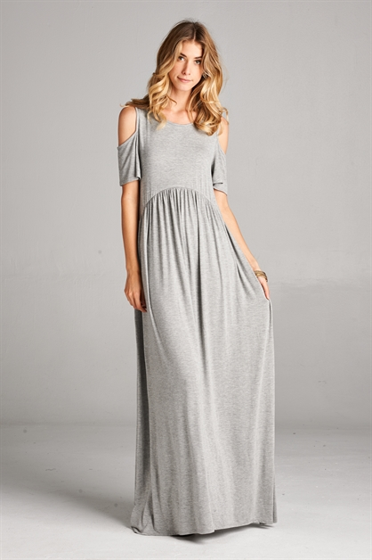 Cold shoulder round neck maxi - orangeshine.com