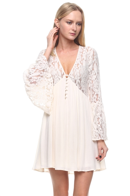 Cover up dress with lace det - orangeshine.com