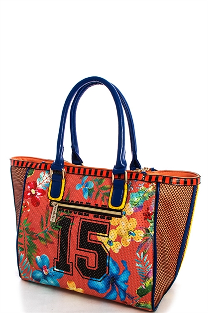 Nicole Lee Print Tote Bag - orangeshine.com