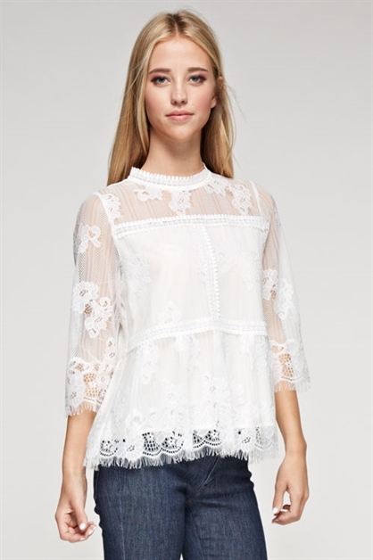 LADIES WOVEN TOP LACE DETAILS - orangeshine.com