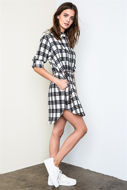 Plaid Shirt Dress With Belt - orangeshine.com