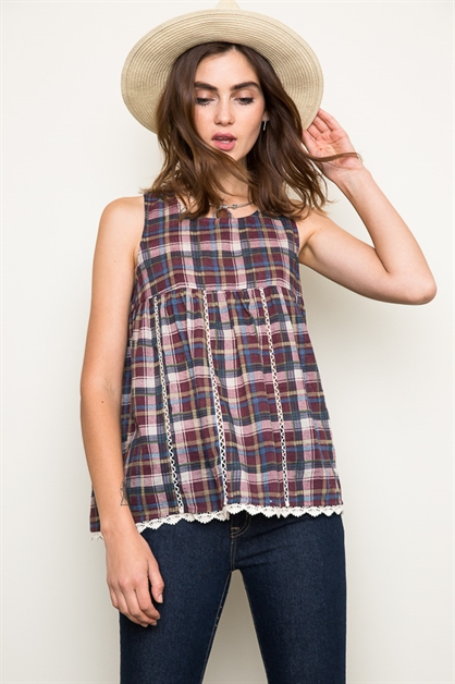 Plaid Baby Doll Tank - orangeshine.com