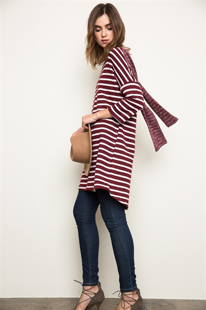 Stripe Sweater Tunic Dress - orangeshine.com