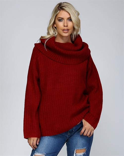 CHUNKY RIB COWL NECK SWEATER - orangeshine.com