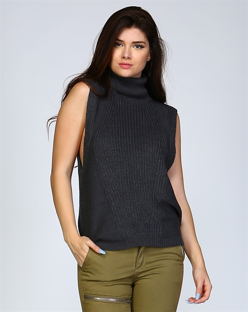 Turtle Neck Sleeveless Top - orangeshine.com