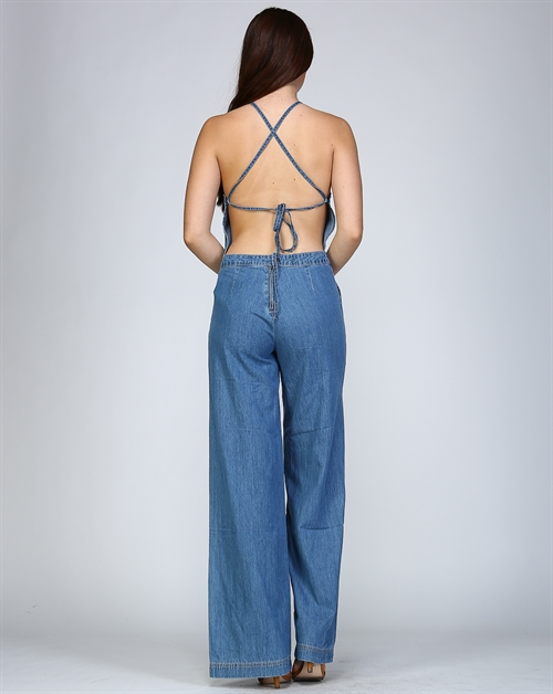 Backless Denim Jumpsuit - orangeshine.com