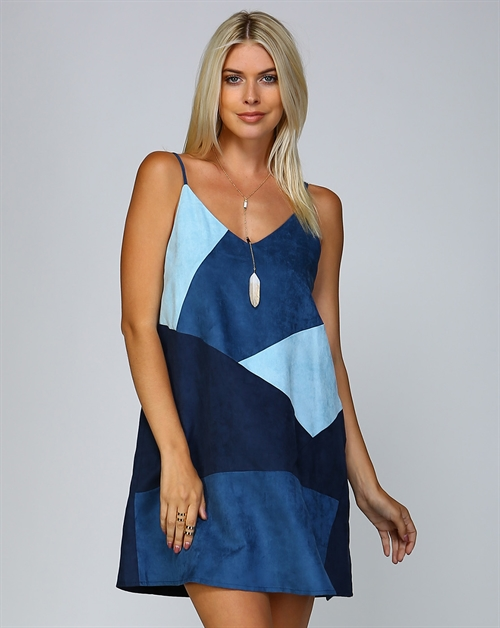 SUEDE COLOR BLOCK A LINE DRESS - orangeshine.com