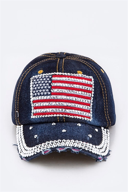 American Flag Denim Cap - orangeshine.com