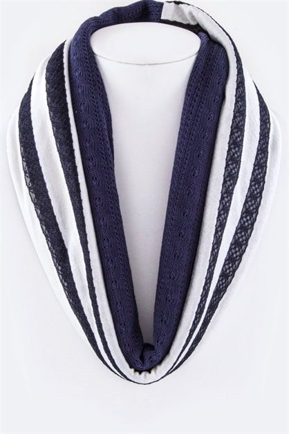 Stripes and Lace Scarf - orangeshine.com
