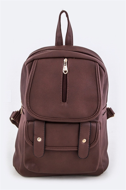 Grain Leather Fashion Backpack - orangeshine.com