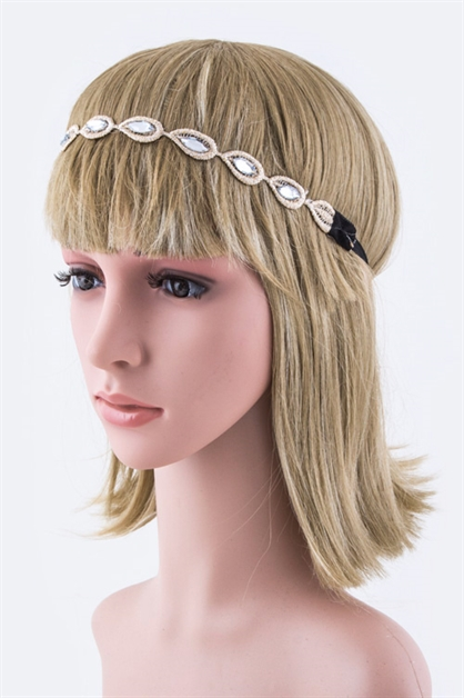 Crystal Leaf Stretch Headband - orangeshine.com