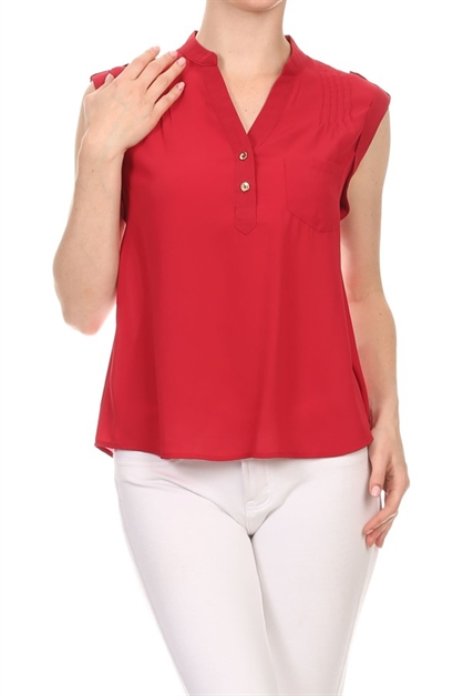 Solid sleeveless woven top - orangeshine.com